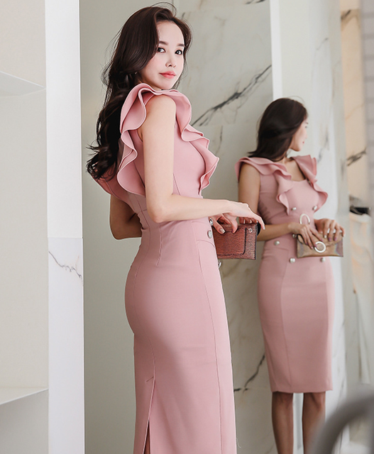 2021 summer women's dress, Korean version, slim fit, ruffle, double breasted, buttocks, thin, medium and long bottomed dress 6