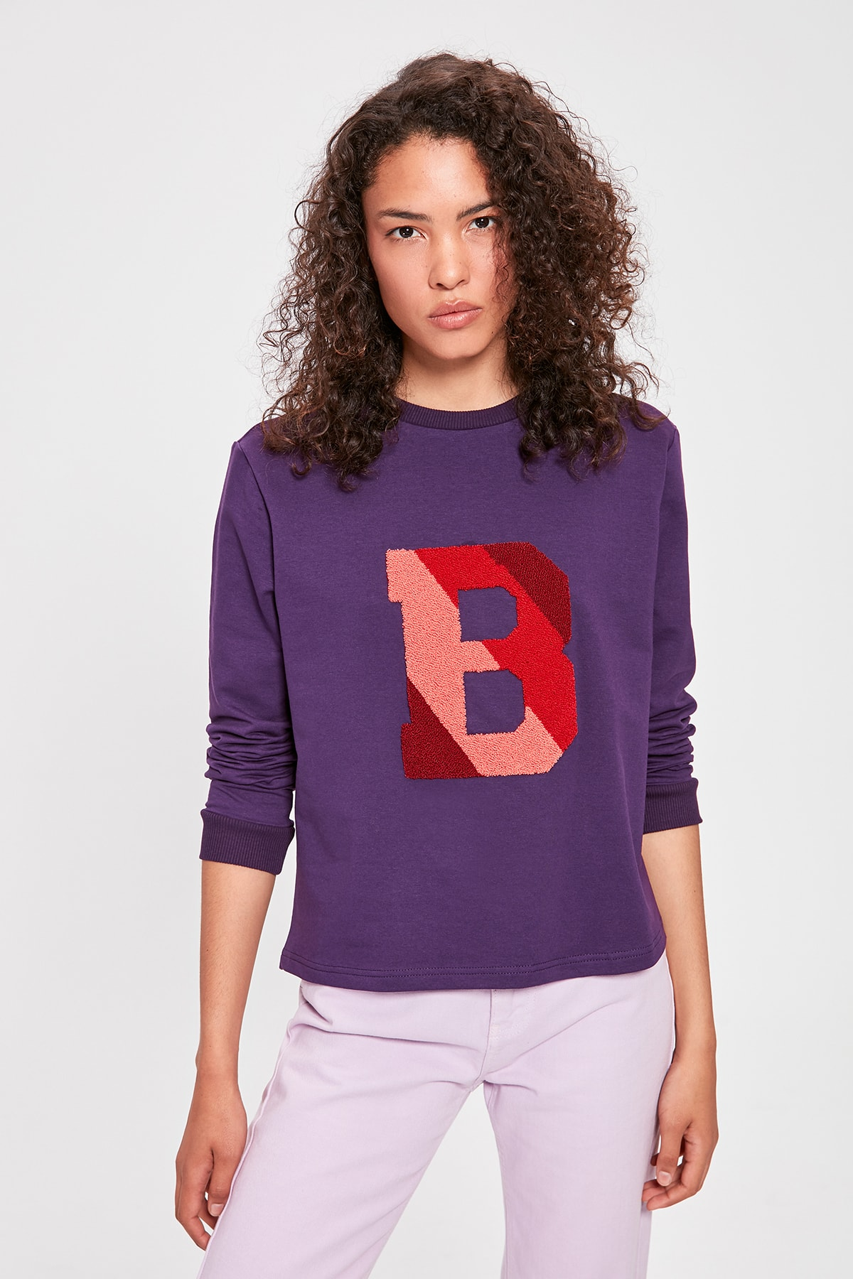 Trendyol Purple Letter Embroidered Basic Knitted Sweatshirt TWOAW20SW0306