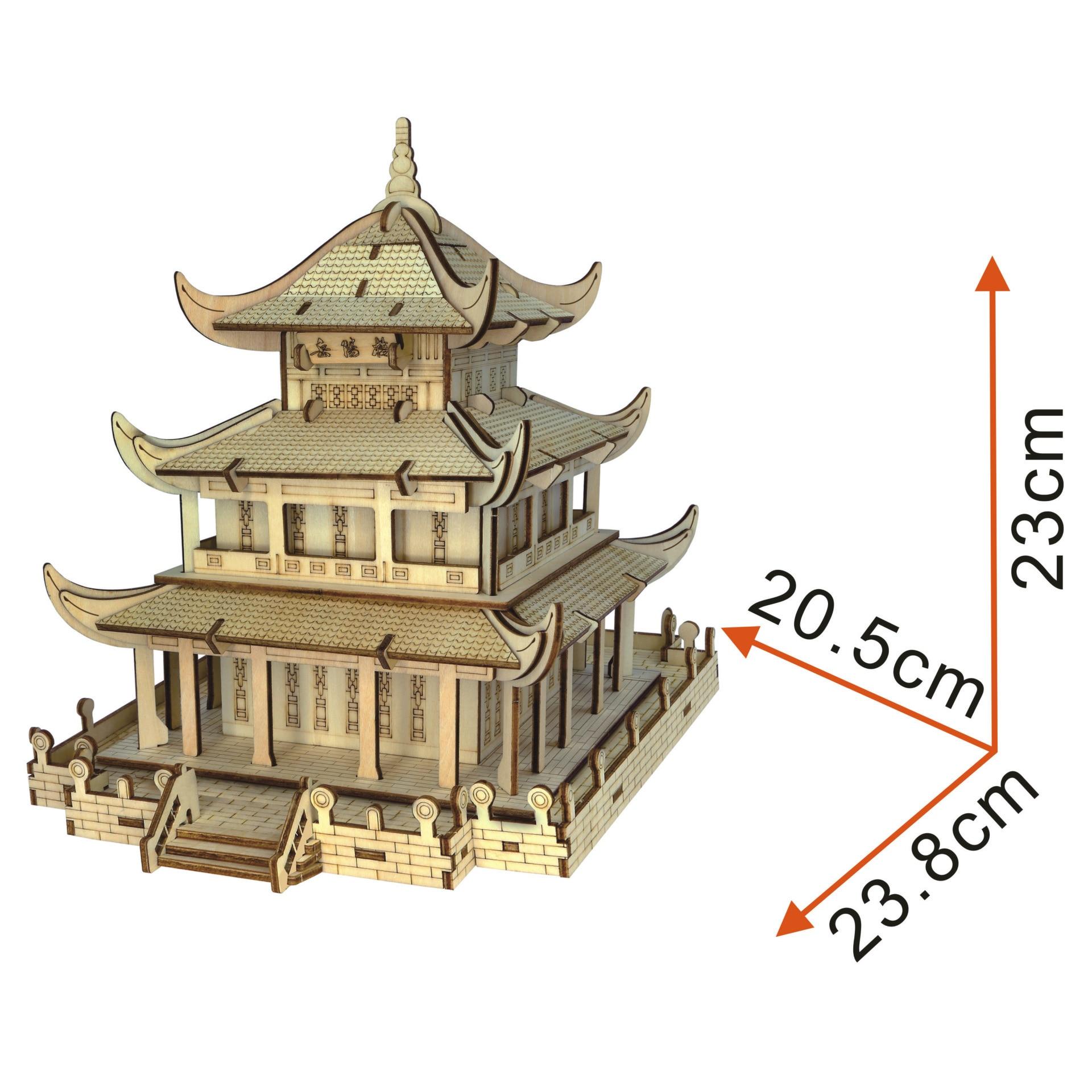 3D Holz Jigsaw Puzzle Laser Schneiden DIY Dreidimensionale Jigsaw Puzzle DIY Handgemachte Spielzeug Yueyang Turm Farbe Box - 2