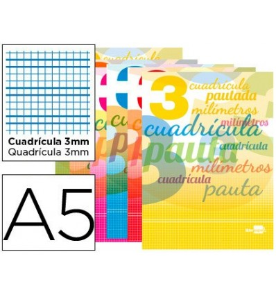 BOOK LIDERPAPEL PAUTAGUIA LID STOCK 32 SHEETS DIN A5 70 G SQUARE GRID PAUTADO 3 MM WITH MARGIN 10 Units