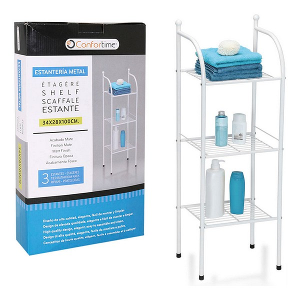 Bathroom Shelves Confortime 3 Shelves Metal White (34 X 28 X 100 Cm)
