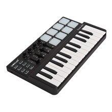 На выбор панда мини Портативный мини 25-ключ USB клавиатура и барабанные колодки MIDI Контроллер Профессиональный альт саксофон музыкальные инструменты