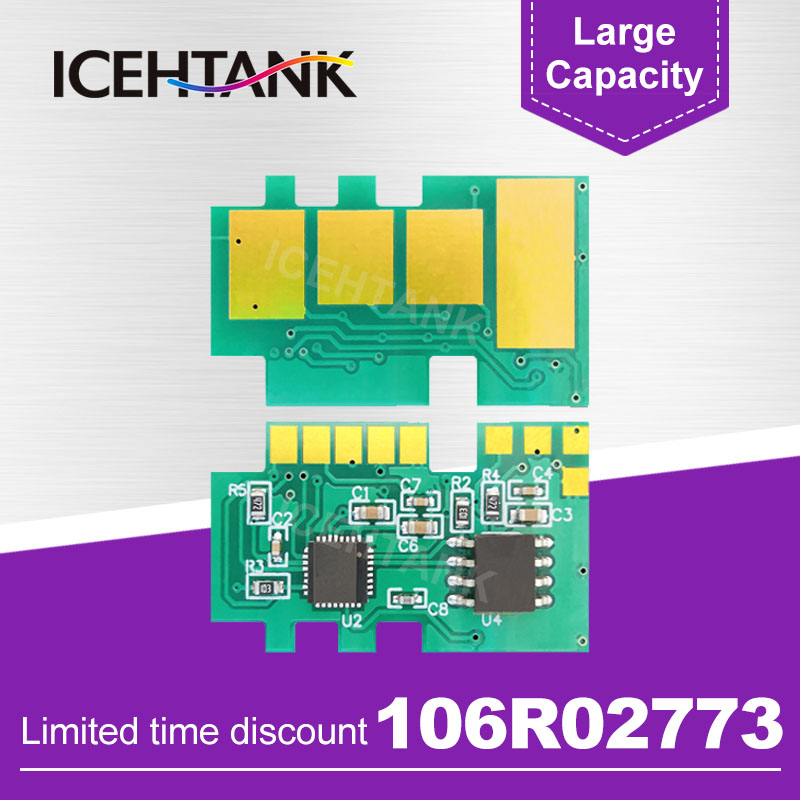 ICEHTANK 106R02773 Toner Cartridge <font><b>Chip</b></font> Compatible For <font><b>Xerox</b></font> Phaser 3020 WorkCentre <font><b>3025</b></font> Laser Printer Toner Refill Reset Powder image