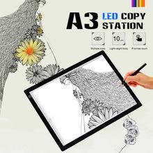 Maior a3 gráficos digitais tablet desenho tablet led caixa de luz almofada eletrônico usb rastreamento arte cópia placa escrita pintura tabela