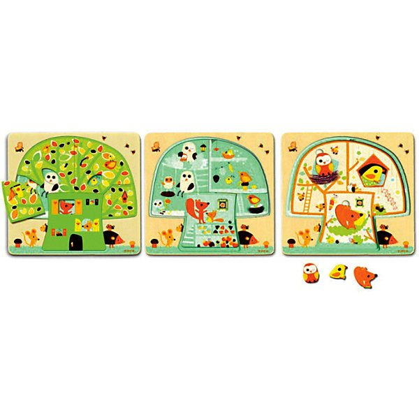Three-layer puzzle House-tree, DJECO