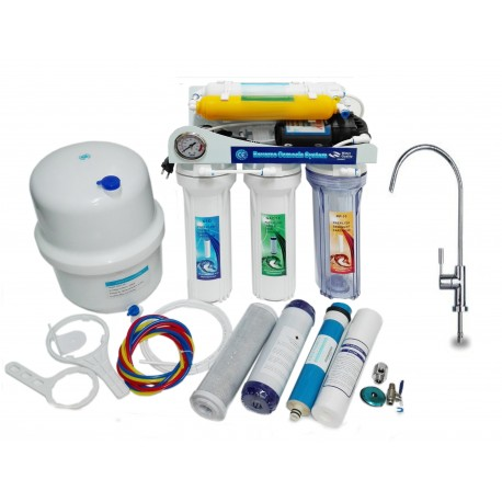 Reverse Osmosis MOON75 6 Stage Pump Gauge Membrane 75 GPD And Mixer Tap Lux