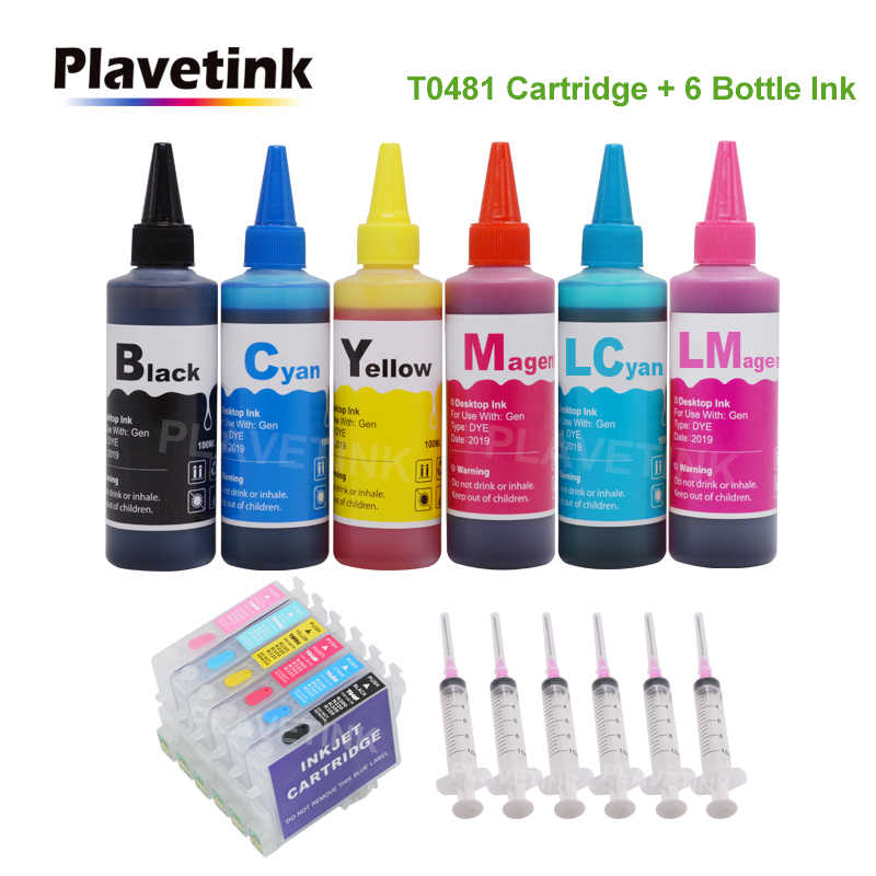 Plavetink T0481-T0486 Tinta Isi Ulang Cartridge untuk EPSON STYLUS PHOTO R200 R220 R300 R300M R320 R340 + 6 × 100 Ml Botol Tinta Printer