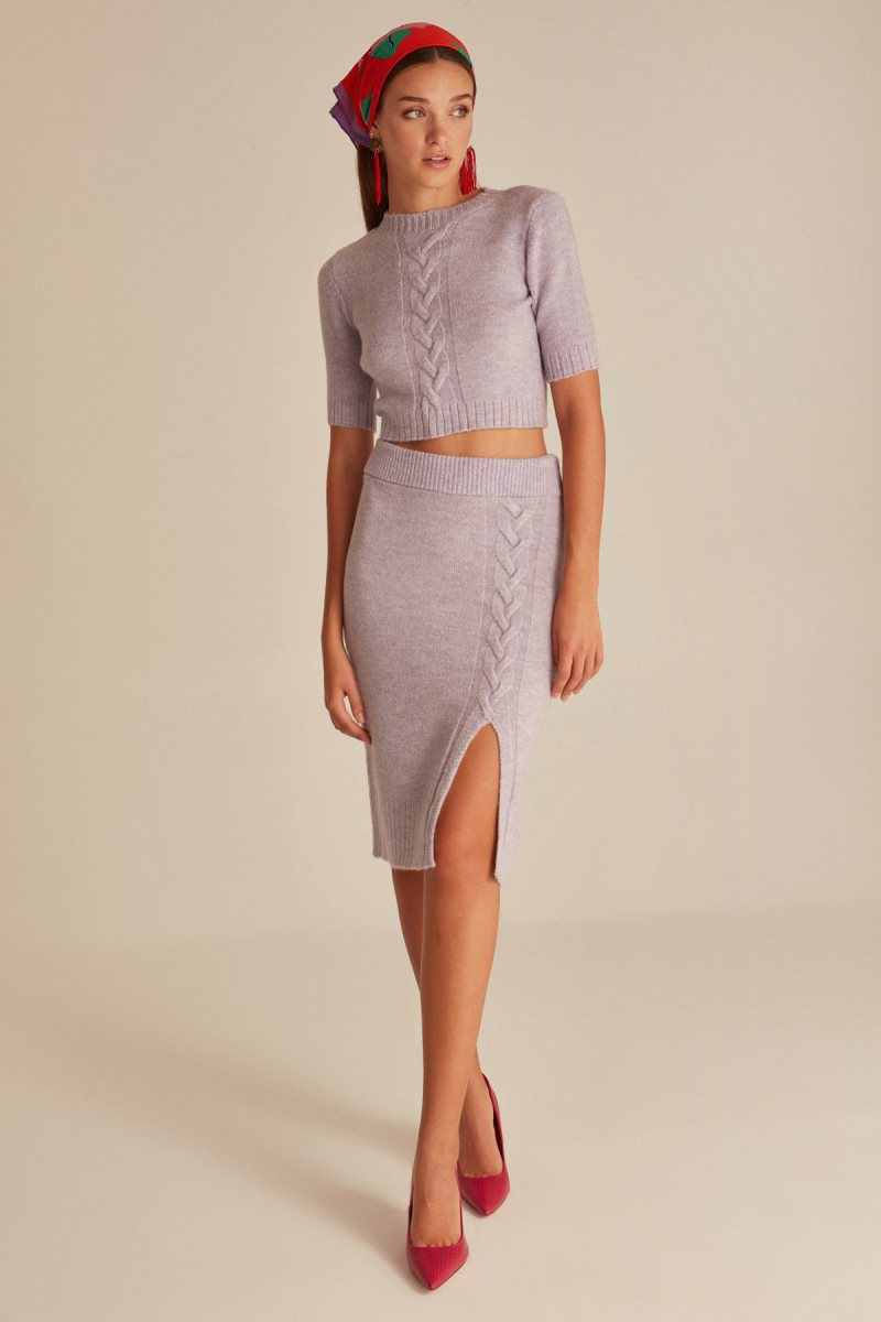 Joinus Cable Knitted Skirt With Slit Detail Woman Lilac