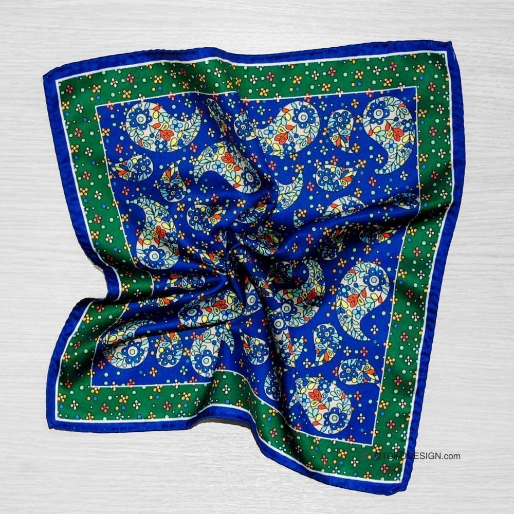 Silk Scarf In Blue Cucumber Jacket Pocket (52889)
