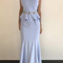Bridesmaid-Gown Swarovski Party-Dress Detail Mermaid Blue Belt Trumpet Baby