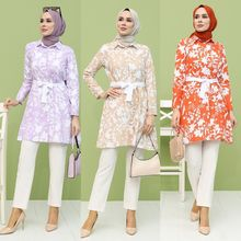 Belted Patterned Tunic Cotton Fabric Buttons Unlined Shirt Collar Seasonal Long Sleeve Stylish Comfortable Casual Muslim Fashion
