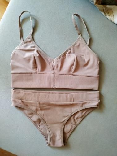 TERMEZY 2019 New Women Fashion Cotton Lingerie Wireless Bras For Women Push Up Bra Set comfortable Sexy Underwear Free Shipping|Bra & Brief Sets|   - AliExpress