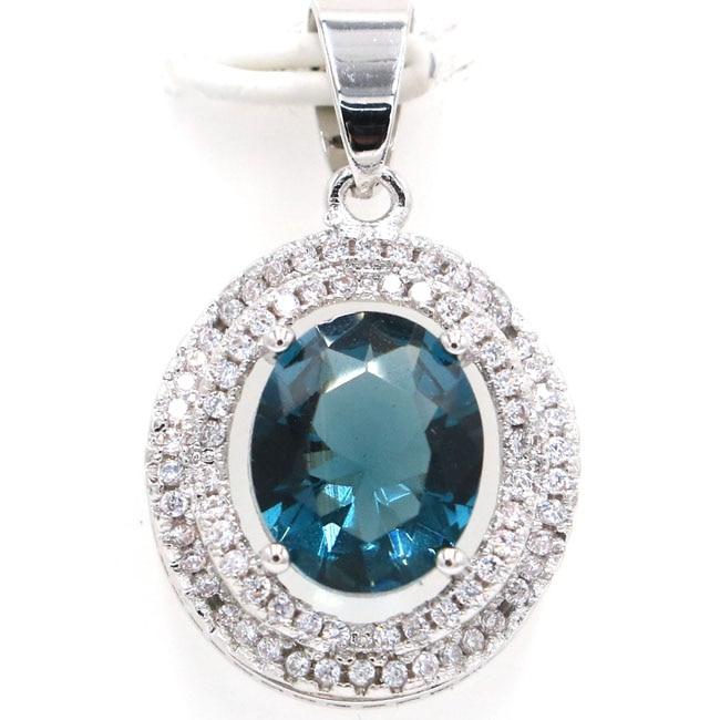 28x16mm Hot Sell Dark London Blue Topaz White CZ SheCrown Gift Silver Pendant