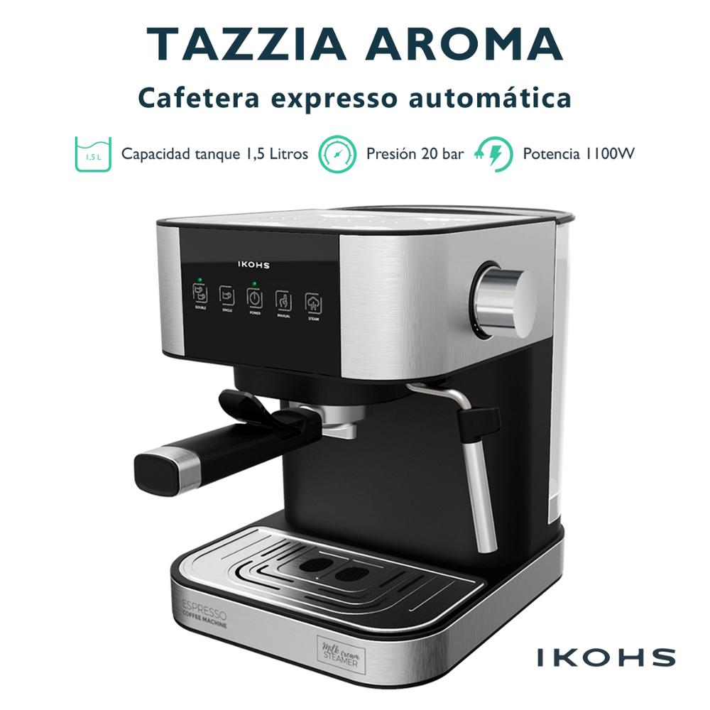 TAZZIA AROMA - Cafetera Expresso automatica Digital, Ikohs, Potencia 1100 Вт, Presión 20 бар, емкость 1500 мл, песо 3,5 кг,