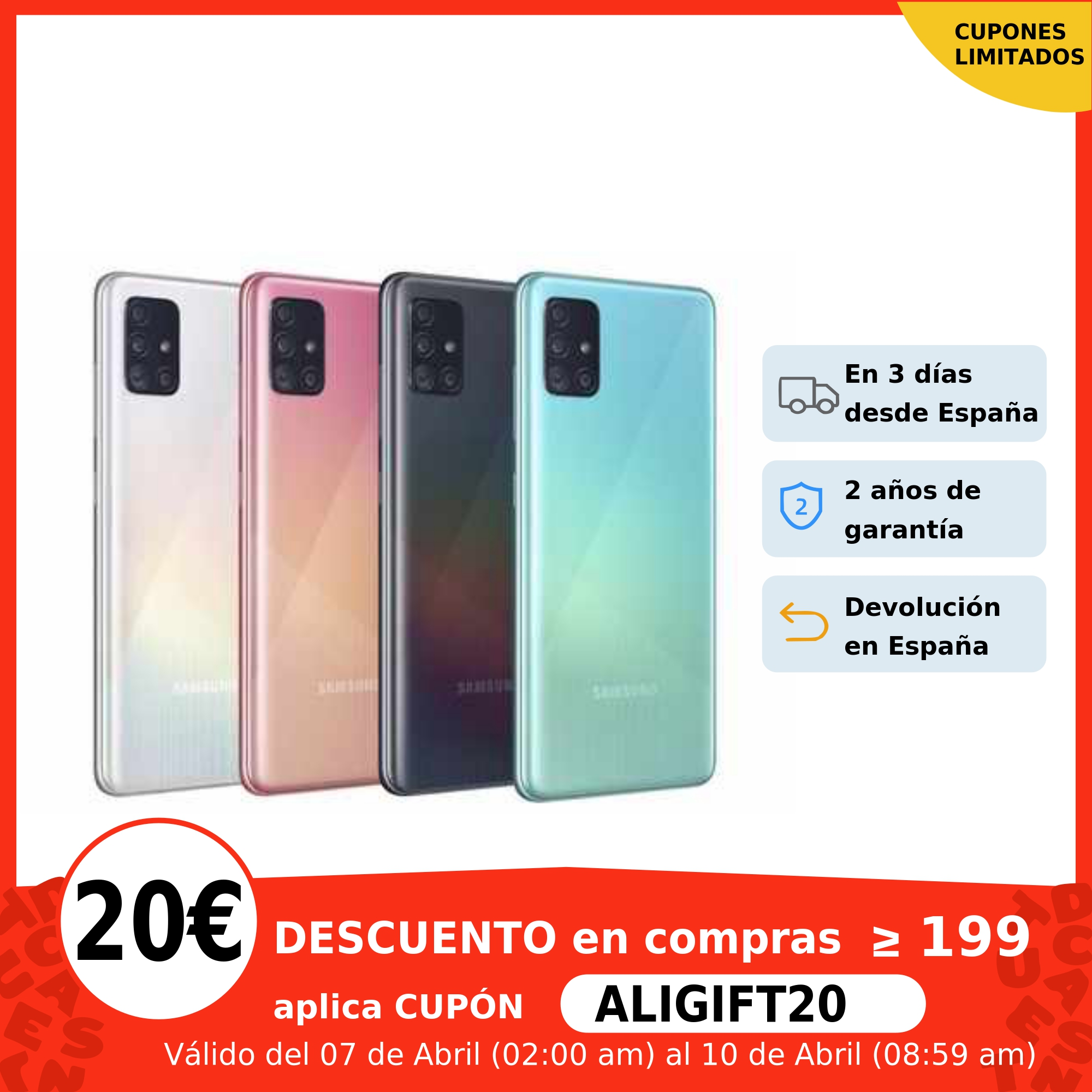 "Samsung Galaxy A51, Smartphone 4+128GB, pantalla 6.5"" Infinity O AMOLED, 4 cámaras (48+23+5+5MP), selfie 32MP, gran batería Teléfonos móviles  - AliExpress"