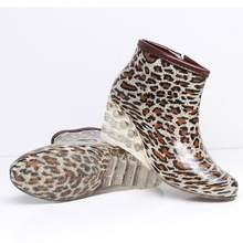 Women's Leopard Print Boots With 3 cm Waterproof Platform Indoor&Outdoor Flat Ankle Knitting Wools Warm Boots for women(China)
