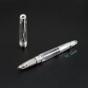 Image 5 - 2020 Wing Sung 618 Piston Transparent Fountain Pen Ink Pen Fine 0.5mm Nib Silver Clip Office school supplies penna stilografica