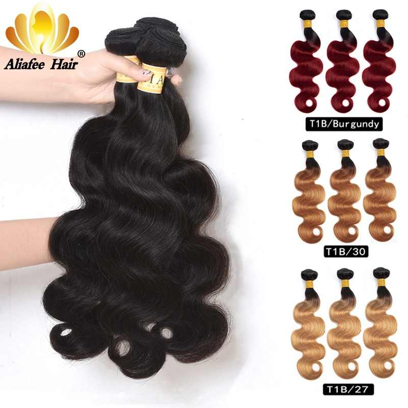 "Aliafee 8""-30"" Ombre Colored Peruvian Hair Weave Bundles Body Wave Human Hair 3 Bundles Natural Color Remy Hair Extensions"