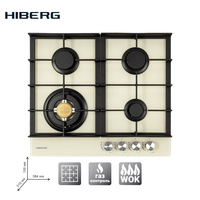 Built in Hob gas on glass with cast iron grilles HIBERG VM 6044 Y, with FFD Home Appliances Major Appliances gas cooking Surface