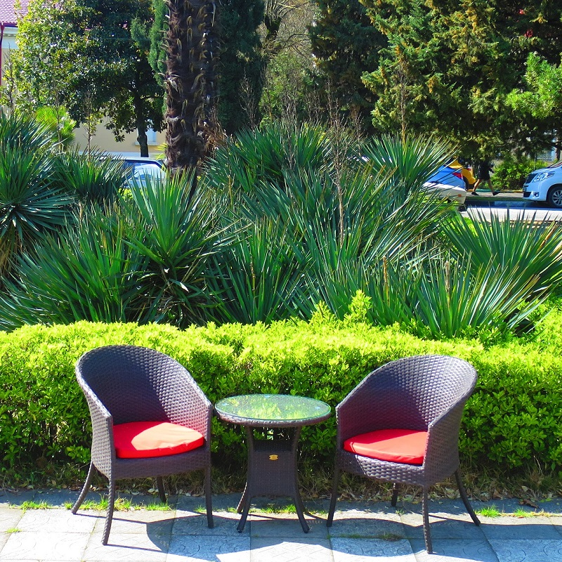 Garden Set For Balcony Or Patio Faux Rattan Color Wenge Chair With Cushions And Coffee Table