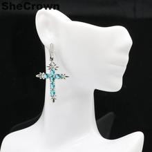 48x27mm 2019 Classic Cross Created Rich Blue Aquamarine CZ Gift For Woman's Silver Earrings