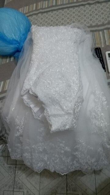 ZJ9170 2019 2020 New V neck White Long Sleeve Lace Bottom Vintage Wedding Dresses for brides plus size maxi size 20W 22W 24W photo review
