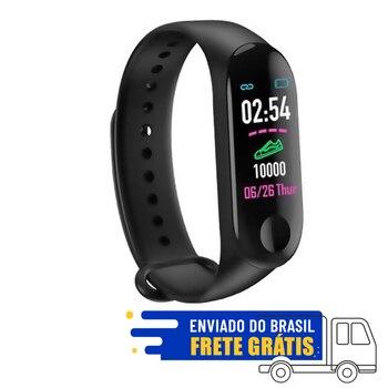 Relogio Pulseira De Corrida Monitor Cardíaco M3 Preto SmartWatch