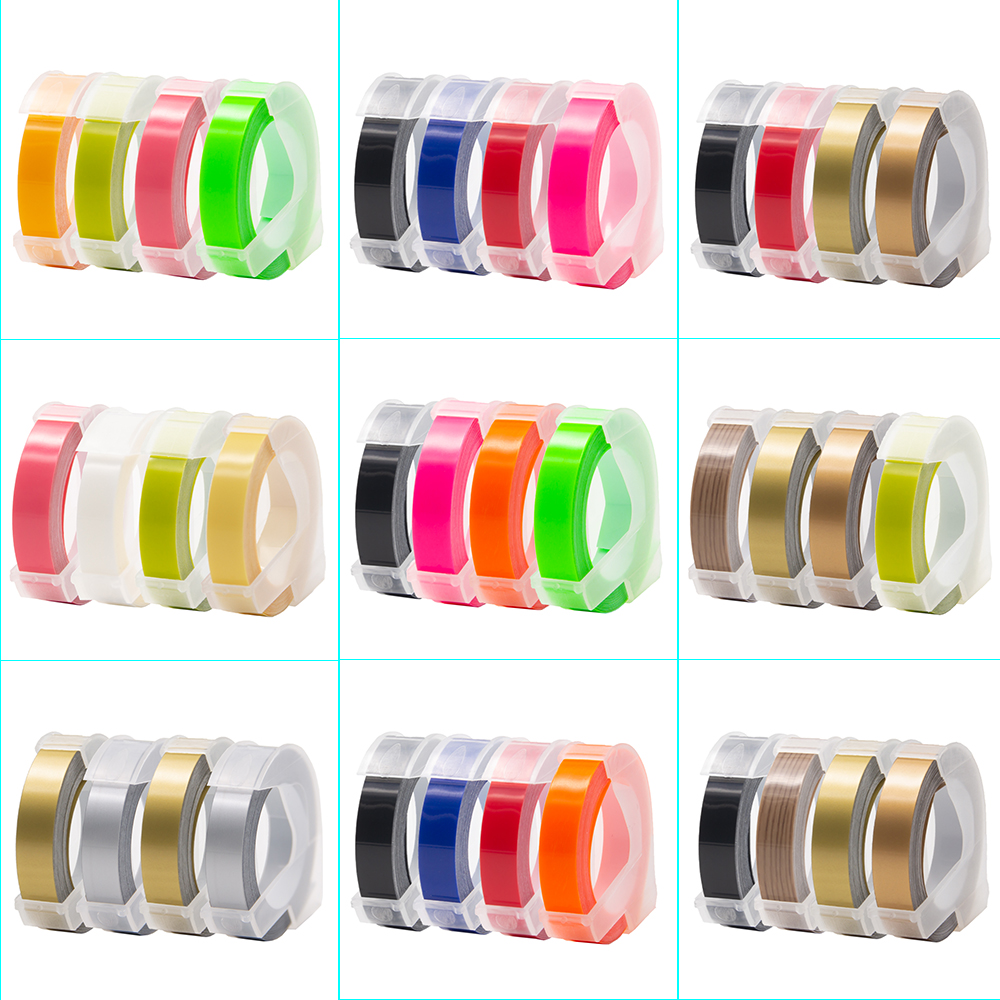 UniPlus 4PK for Dymo Label Printer 3D Embossing Label Tape 9mm Multi Color Compatible Dymo Tape Labe