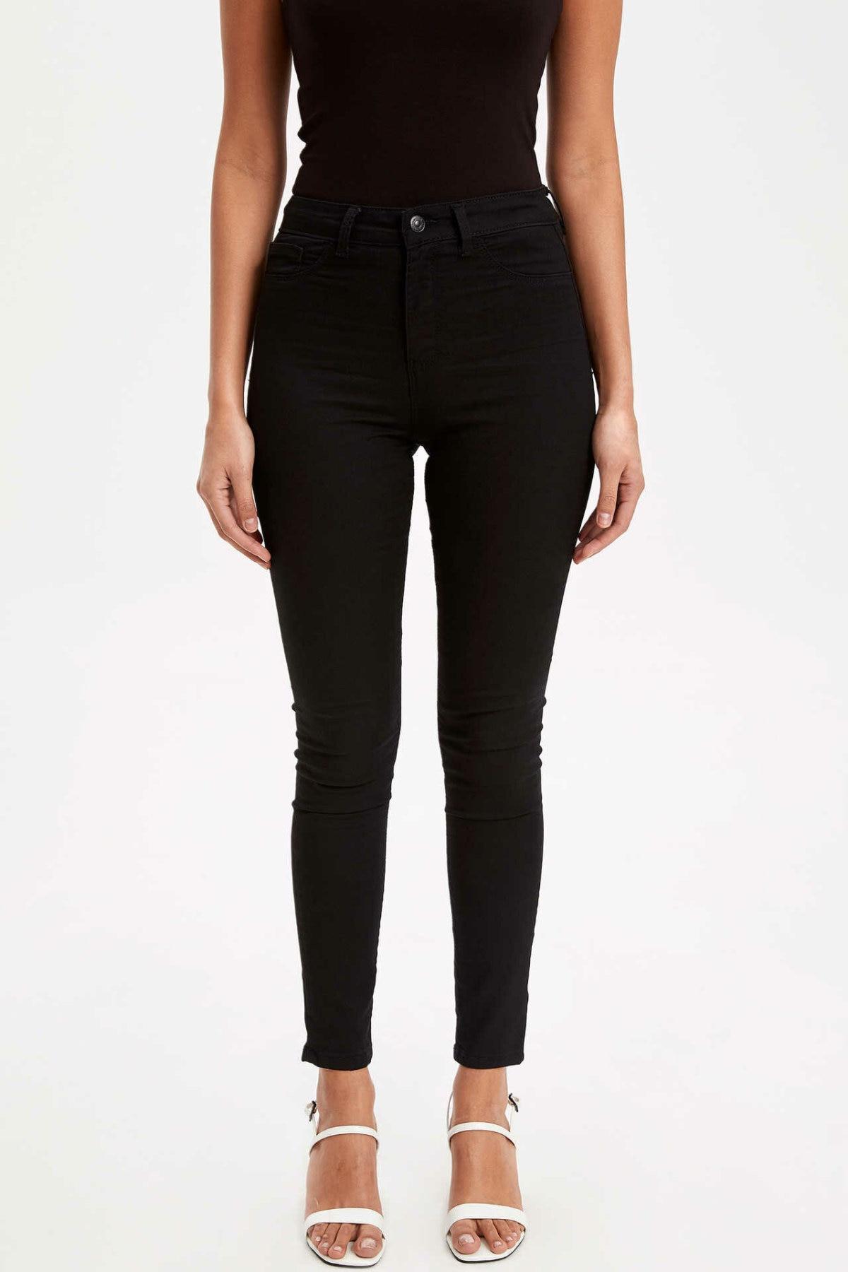 DeFacto Fashion Woman Denim Trousers Female Casual Mid-waist High Elastic Long Jeans Comfort Pencil Pants New Black- L0951AZ19SP
