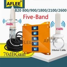 Cinco-band 4g repetidor b20 800 900 1800 2100 2600mhz celular celular amplifier2g 3g 4g móvel repetidor de impulsionador de sinal lte gsm