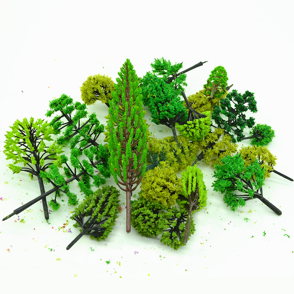30psc Random Different Styles3-12CM Model Green Trees Toy Architectural Train Landscape Scenery Tree Layout ABS Plastic Diorama