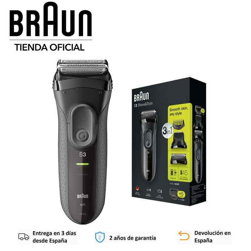 Braun Series 3 3000BT Shave & Style Afeitadora Barba 3 en 1 Recorte uniforme Perfilado preciso Láminas SensoFoil Pantalla LED