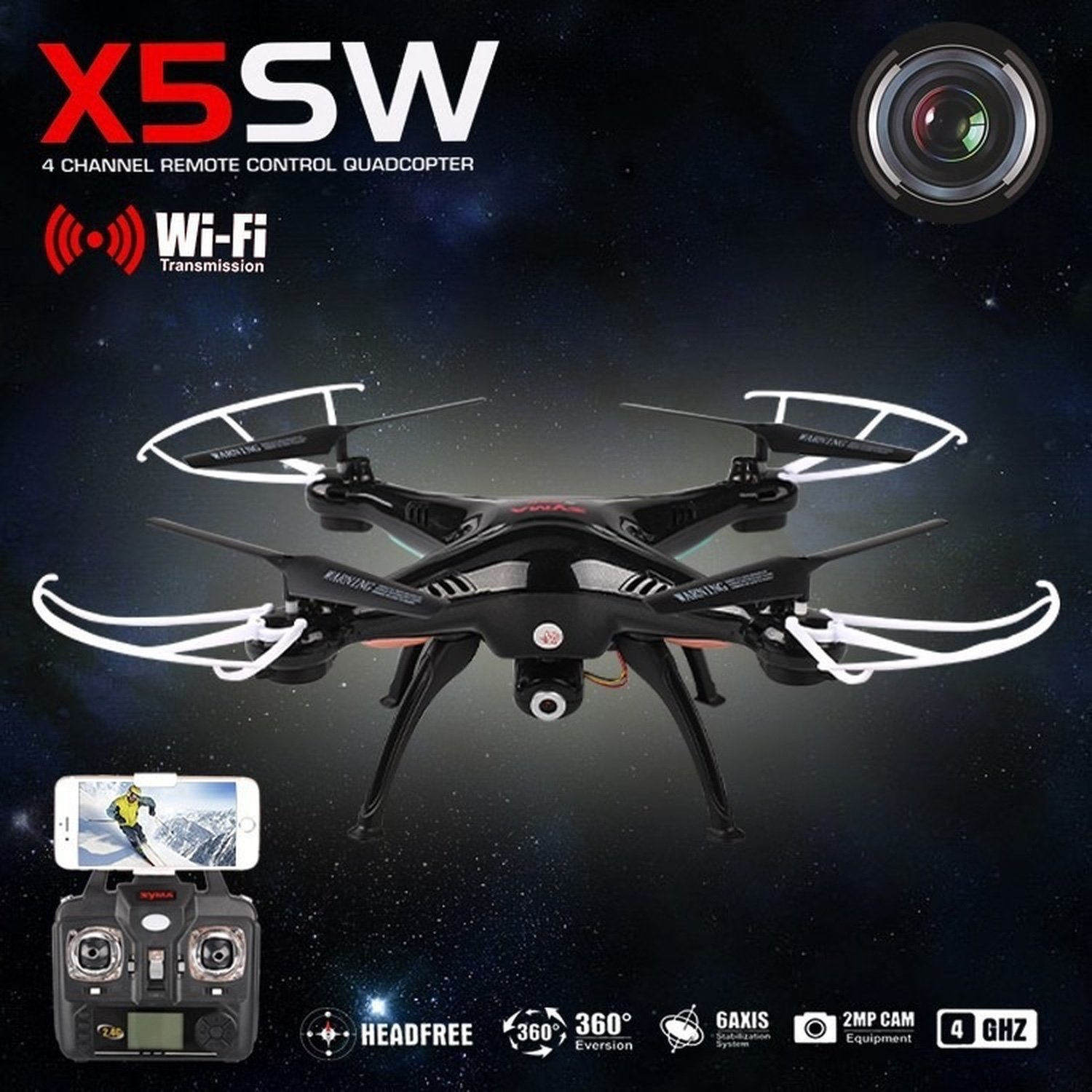 QUADCOPTER DRONE SYMA X5SW FPV Explorers 2.4GHz 4ch 6 axis Gyro RC CAMERA HD WIFI