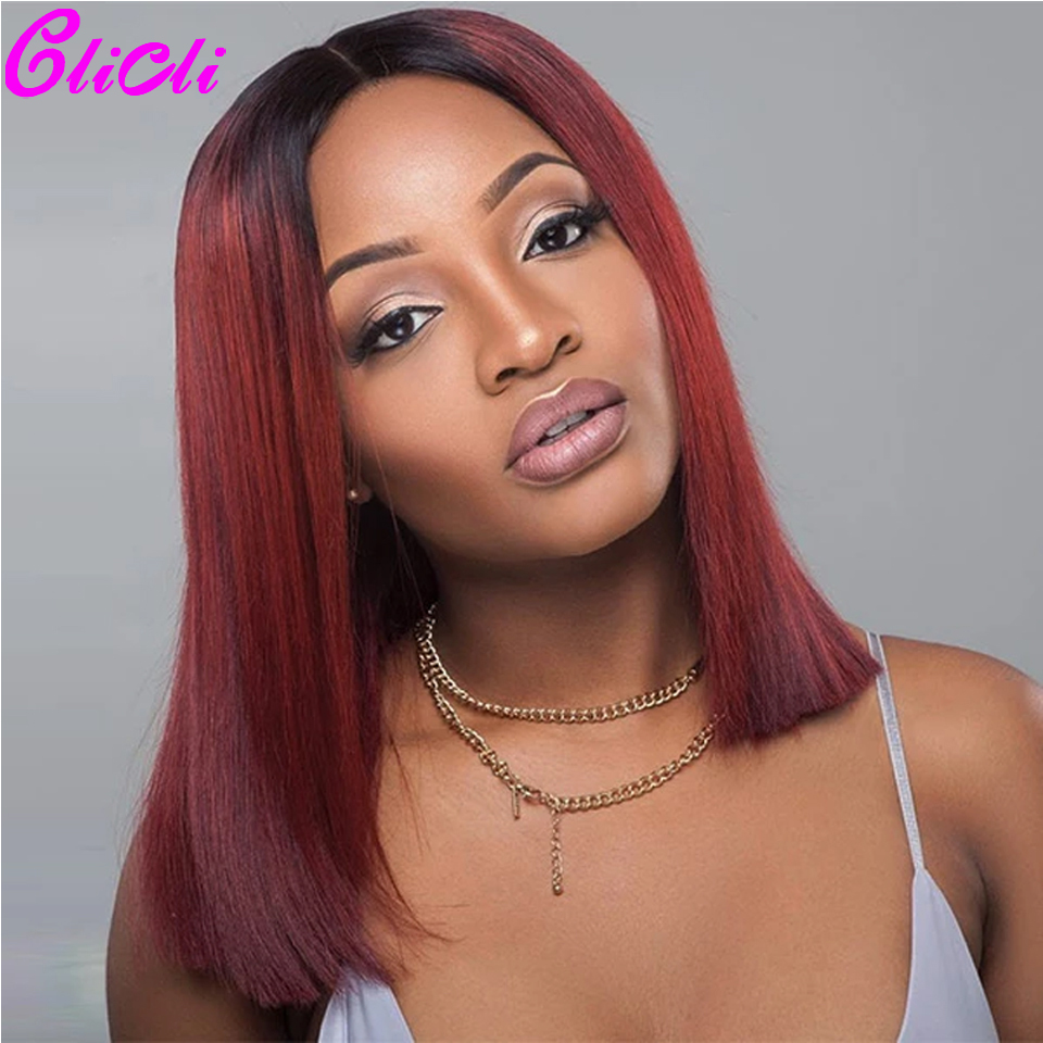 1B 99J Straight Short Bob 13x4 Lace Frontal Wig Deep Part Brazilian Remy Human Hair Lace Front Wigs 180 Density Pre Plucked