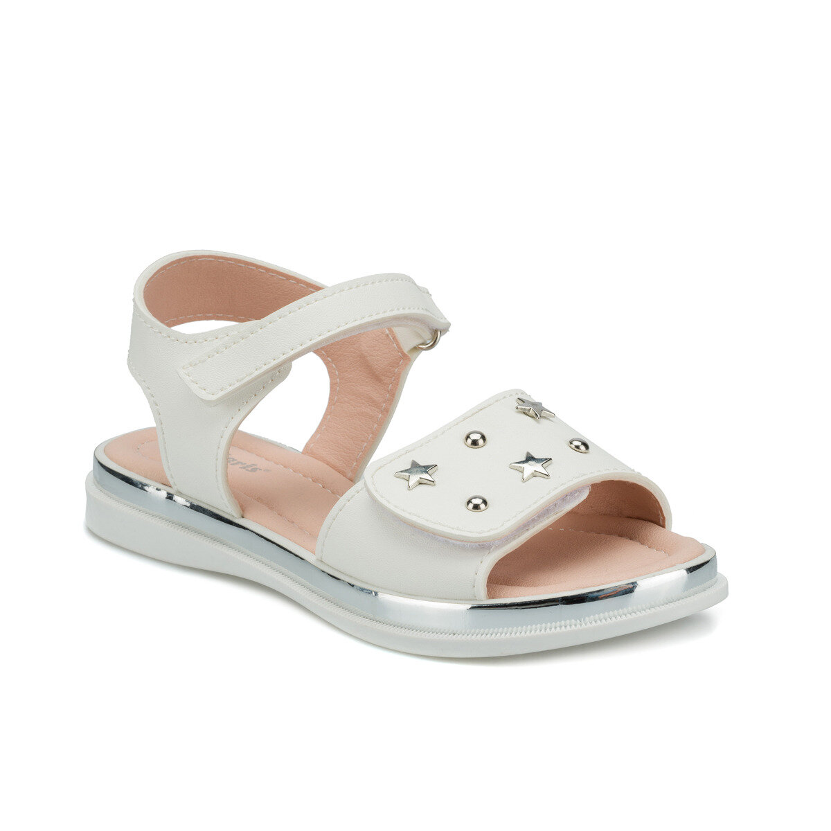 FLO 512490.F White Female Child Sandals Polaris