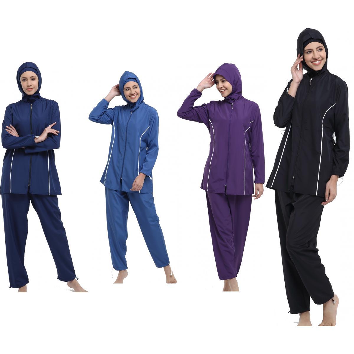 Argisa 7101 Straight Piping Hijab Swimwear S-5XL Plus Size Muslim Hijab Islamic Swimsuit Swim Burkinis Full Cover