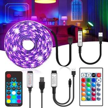 5050 SMD DC 5V USB LED Strip Light RGB USB Charger Led Light Ribbon Decor Lamp 0.5M 1M 2M 17Key/24Key Remote Mini 3key Control car led foot lamp ambient light voice control music lamp control lamp12v led 72 smd 5050 4 x 18 smd dc 12v