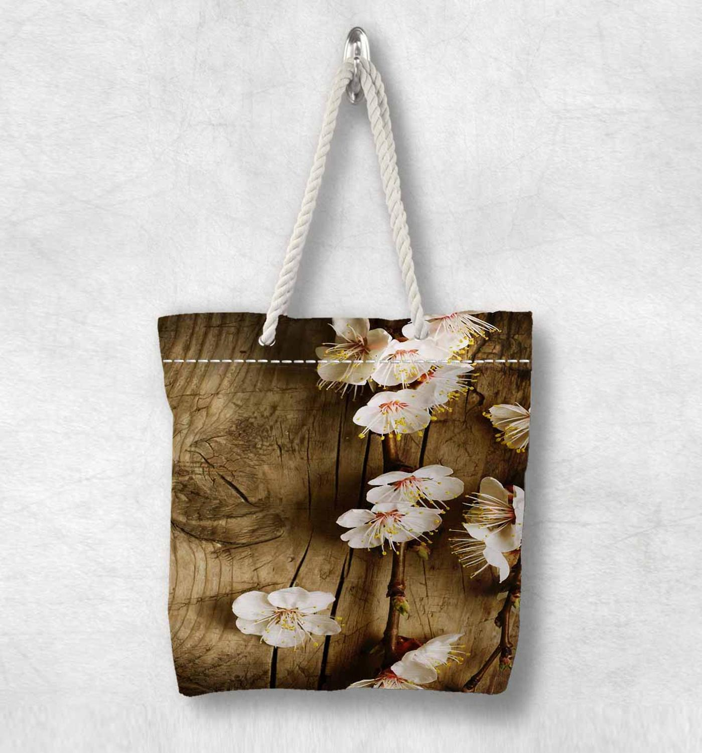 Else Brown Wood On White Flowers Floral New Fashion White Rope Handle Canvas Bag Cotton Canvas Zippered Tote Bag Shoulder Bag