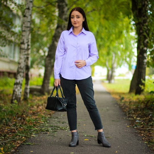 One Pocket Women'S Blouse And Tops Turn Down Collar Full Sleeve Women Shirts Light Purple Female Tops Blusas Mujer De Moda photo review