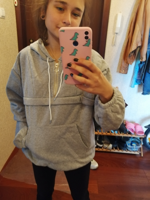 Hoodies Women Hooded Loose Solid Colour Simple All Match Korean Style Winter Thicker Plus Velvet Warm Sweatshirts Womens Trendy photo review
