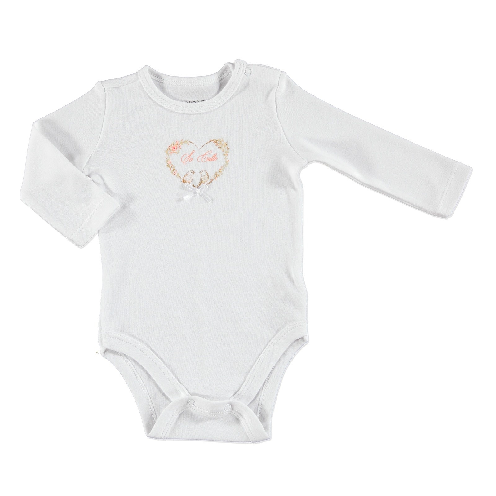 Ebebek HelloBaby Little Flowers Baby Bowtie Detail Long Sleeve Bodysuit