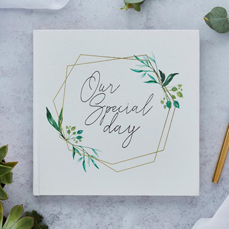 Personalized White Wedding Guest Book Botanical Wreath Guest Book Our Special Day Guest Book Album Sign Wedding Gift For Couple