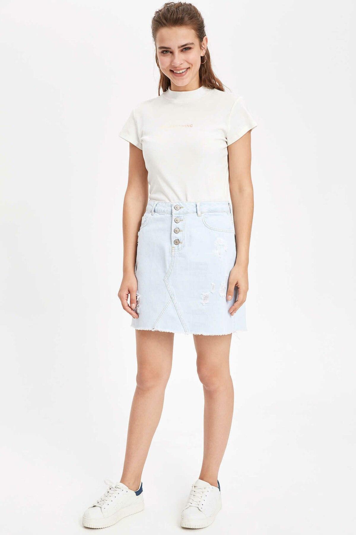 DeFacto Woman Fashion Denim Skirt Ladies Casual Light Blue Short Jeans Skirts Female High Quality Summer - K7125AZ19SP