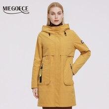 MIEGOFCE 2021 giacca da donna cappotto antivento cappuccio giacche per donna primavera Parka giacca a vento con tasche con Logo lunghezza al ginocchio