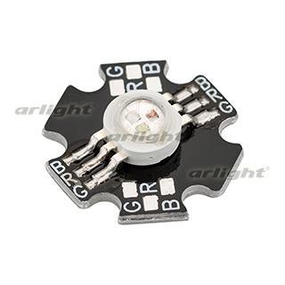 021838 High Power LED ARPL-Star-3W-EPA-RGB (350mA, Black) ARLIGHT 70-шт