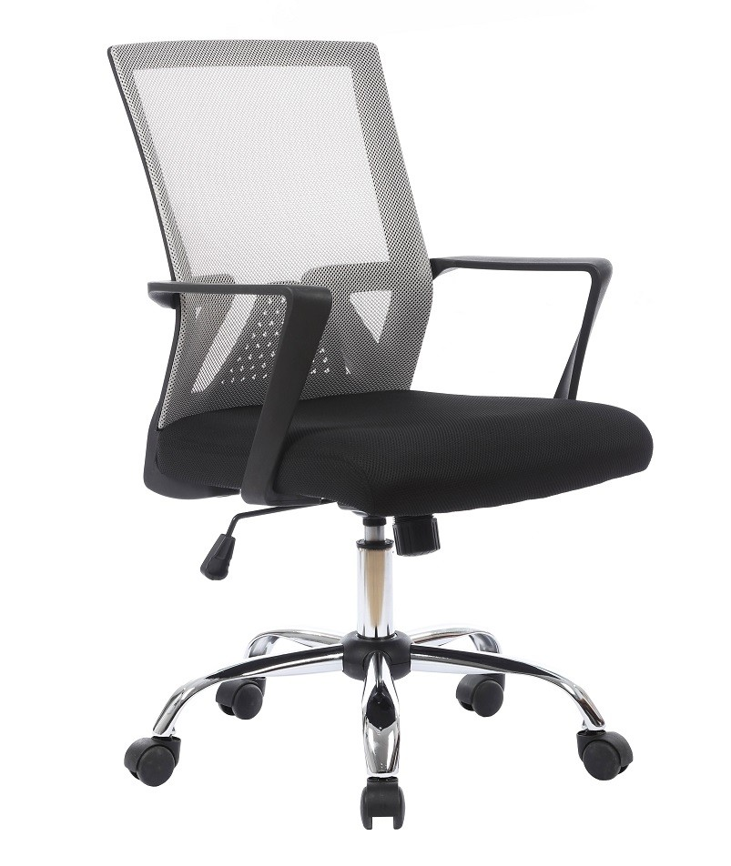 Office Armchair SIROCCO, Gas, Tilt, Gray Mesh Fabric Black