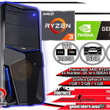 Computadora Pc Gamer estudio AMD Ryzen 3 1200 16GB Ram DDR4 120GB SSD + 1TB HDD + WIFI + GeForce NVIDIA + WIN10