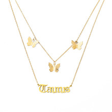 Cute Butterfly Choker Necklace For Women Gold Chain Statement Collar Female Old English Letter Alphabet Initial Jewelry chic butterfly choker necklace for women gold silver chain statement collar female chocker best shining jewelry party 2020 new