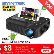 BYINTEK K18 en ucuz 1920x1080 Full HD 1080P Mini taşınabilir oyun LCD LED 3D projektör (isteğe bağlı Android 10 TV kutusu akıllı telefon)