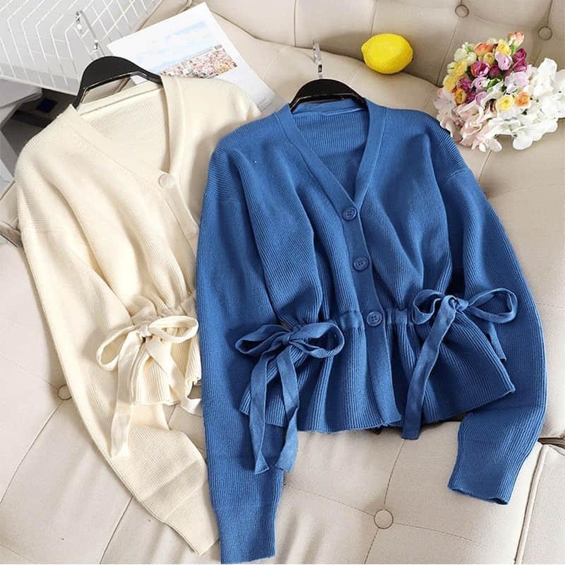 NiceMix Vintage Knitting Sweater Women High Waist Drawstring V-neck Loose Cardigan Coat Female Blue Gary Casual Fashion Sweater